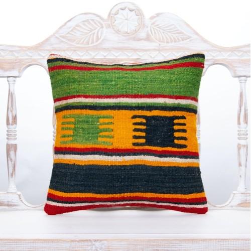 "Green Striped Nomadic Kilim Pillow 16x16"" Rustic Home Decor Sofa Throw"