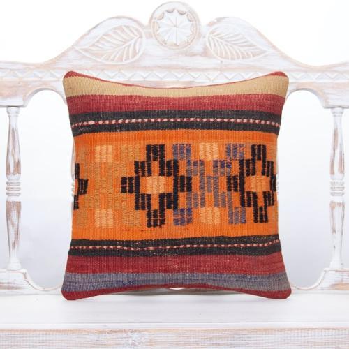 Orange Embroidered Kilim Pillow 16x16 Anatolian Home Decor Sofa Throw