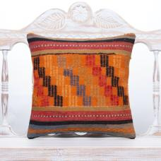 "Orange Embroidered Kilim Rug Pillow 16x16"" Anatolian Handmade Cushion"