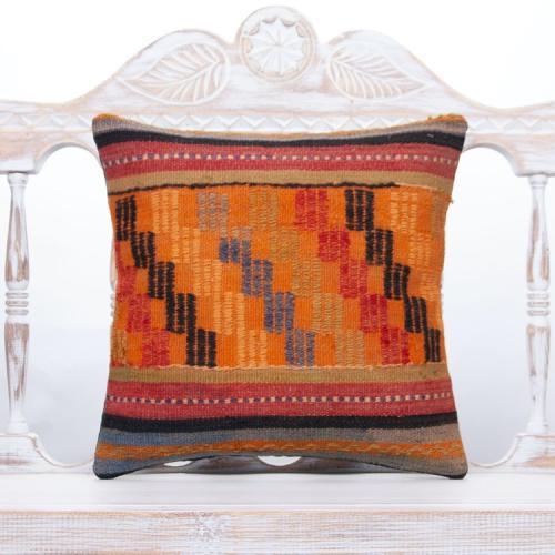 "Orange Embroidered Kilim Rug Pillow 16x16"" Anatolian Handmade Cushion"