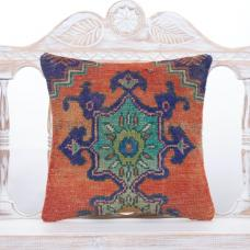 "Oriental Floral Turkish Rug Pillow 16x16"" Vintage Tribal Old Cushion"