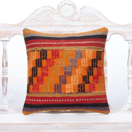 "Oriental Turkish Kilim Rug Pillow 16x16"" Vintage Decor Orange Cushion"