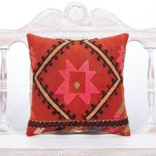 Pink Motifs Boho Throw Pillow 16x16 Embroidered Vintage Kilim Cushion