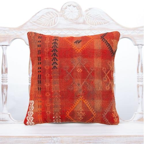 "Red Vintage Kilim Throw Pillow 16x16"" Old Handmade Turkish Rug Cushion"