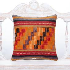 Retro Embroidered Kilim Pillow 16x16 Orange Anatolian Rug Cushion Cover