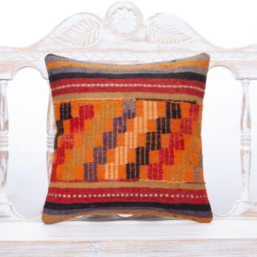 Retro Embroidered Kilim Pillow 16x16 Orange Anatolian Rug Cushion Cover