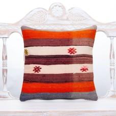 "Retro Handmade Kilim Pillowcase 16"" Striped Colorful Sofa Decor Pillow"