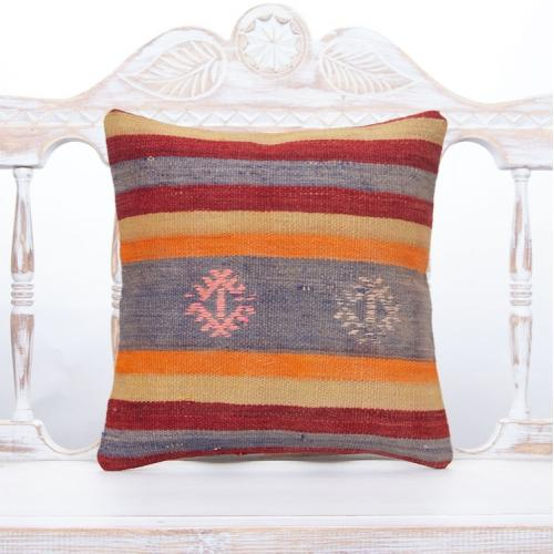 "Retro Handmade Rug Cushion Cover 16x16"" Striped Colorful Kilim Pillow"