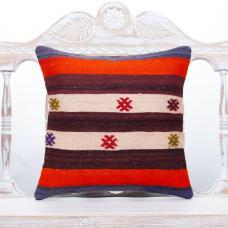"Rustic Cottage Decor Throw Pillow 16x16"" Vintage Turkish Kilim Cushion"