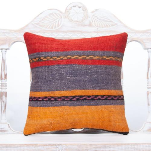 "Striped Colorful Pillow Cover 16"" Vintage Hand Woven Kilim Rug Cushion"