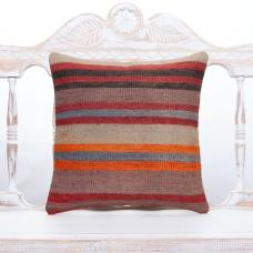 "Striped Decorative Kilim Rug Pillow 16"" Handmade Natural Ethnic Cushion"