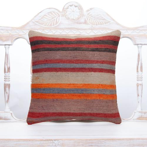 "Striped Decorative Kilim Rug Pillow 16"" Handmade Natural Ethnic Cushion"