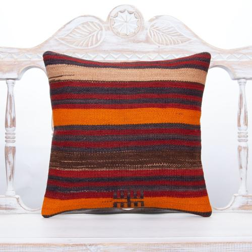 "Striped Handmade Kilim Pillow 16x16"" Decorative Sofa Throw Pillowcase"