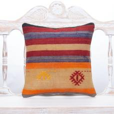Striped Old Handmade Kilim Cushion Square Anatolian Rug Throw Pillow