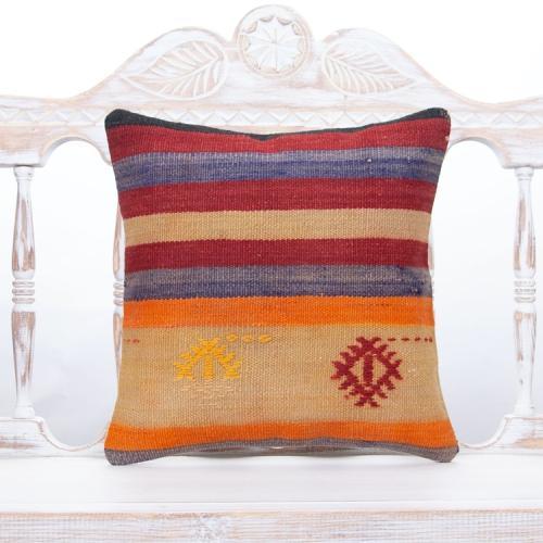 Striped Old Handmade Kilim Cushion Square Anatolian Rug Throw Pillow