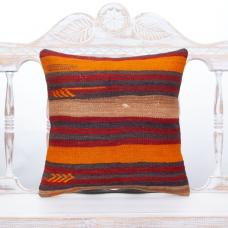 "Striped Orange & Red Colorful Pillow 16"" Handmade Rustic Decor Throw"