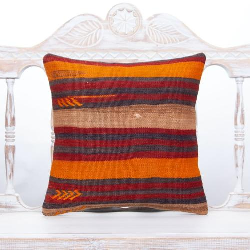"""Striped Orange & Red Colorful Pillow 16"""" Handmade Rustic Decor Throw"""