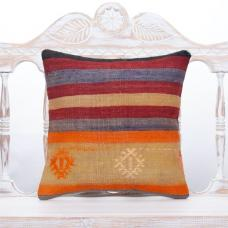 "Striped Turkish Kilim Pillow 16"" Colorful Living Room Decor Sofa Throw"