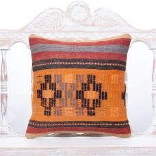 Tribal Vintage Kilim Pillow 16x16 Striped Orange Decor Throw Pillowcase