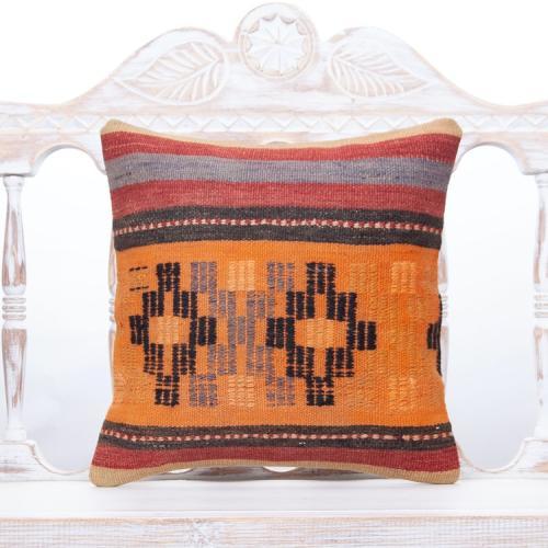 Tribal Vintage Kilim Pillow 16x16 Striped Orange Decor Throw Pillowcase
