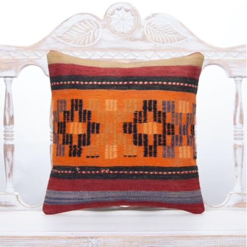 "Turkish Handmade Kilim Pillow Vintage 16x16"" Ethnic Orange Rug Cushion"