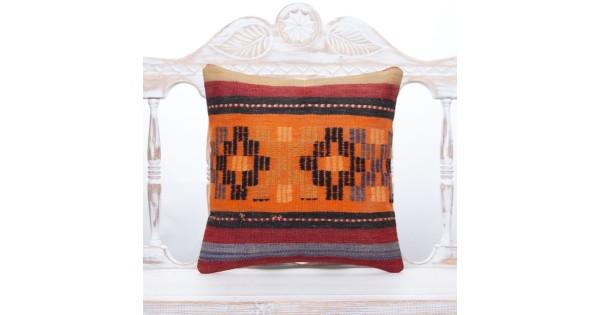 Turkish Vintage Designer Authentic 16x16 Throw Pillow Aztec Ethnic Turkish Kilim Pillow 40*0939 Decorative