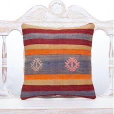 Vibrant Colorful Kilim Pillow 16x16 Striped Retro Decorative Sofa Throw