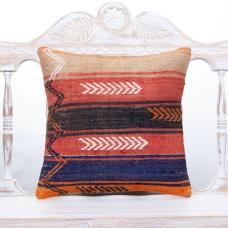 "Vibrant Handmade Rug Pillowcase 16"" Pink Kilim Boho Decor Throw Pillow"