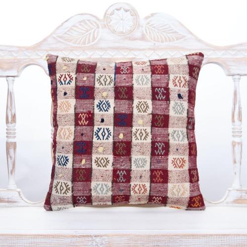 "Vintage Anatolian Kilim Pillow 16x16"" Decorative Embroidered Cushion"
