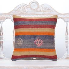 "Vintage Colorful Kilim Pillow 16"" Striped Anatolian Turkish Rug Cushion"