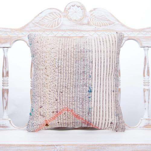 "Vintage Handmade Kilim Pillow 16x16"" Beige Decorative Striped Cushion"