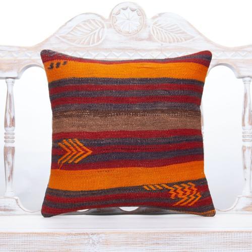 "Vintage Home Decor Throw Pillow 16x16"" Striped Rustic Kilim Cushion"