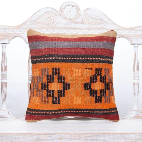 Vintage Sofa Throw Rug Pillow 16x16 Handmade Decor Accent Kilim Cushion