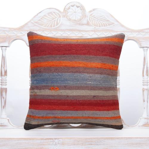 "Vintage Striped Rug Pillow 16"" Colorful Handmade Turkish Kilim Cushion"