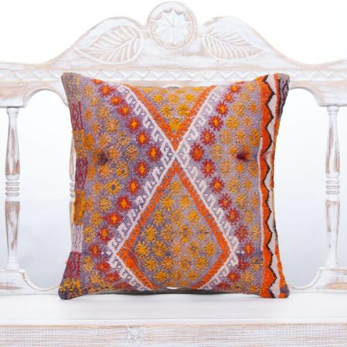 """Violet Cottage Chic Throw Pillow Square 16"""" Embroidered Kilim Cushion"""