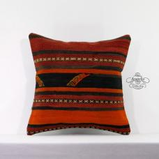 Nomad Art Killim Pillow Eclectic 16x16 Turkish Vintage Sofa Floor Cushion Cover