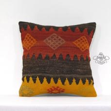 Oriental Handmade Pillow Anatolian Kilim Throw Turkish Tribal Decor Accent Sham