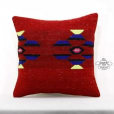"Red Retro Kilim Pillow Cover Turkish Kelim Rug Cushion 16x16"" Square Pillowcase"