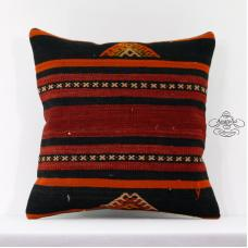 Red Striped Kilim Pillow Eclectic Decoration Turkish Cushion Outdoor Throw 16x16