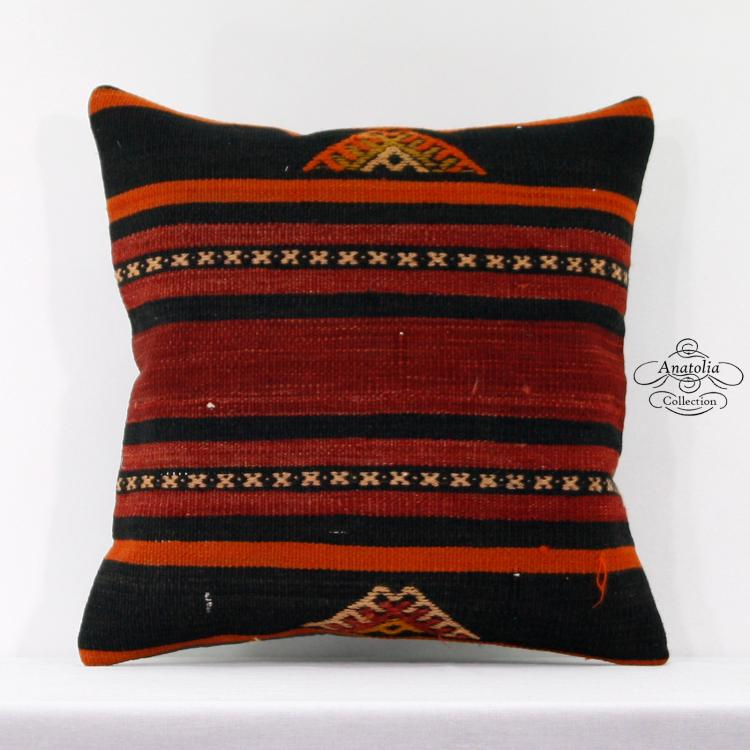 Red Striped Kilim Pillow Eclectic Decoration Turkish Cushion