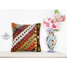 Retro Embroidered Kilim Pillow Vintage Boho Cottage Chic Sofa Couch Decor Sham
