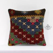 "Retro Kilim Pillowcase Sofa Couch Floor Throw Pillow 16x16"" Kelim Rug Cushion"