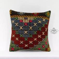 "Rustic Decor Accent Kilim Pillow Cover 16x16"" Turkish Handmade Rug Cushion Cover"