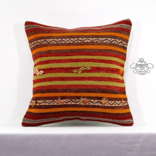 "Striped Red Kilim Rug Cushion Sham Modern Interior Decor Accent Kelim Pillow 16"""
