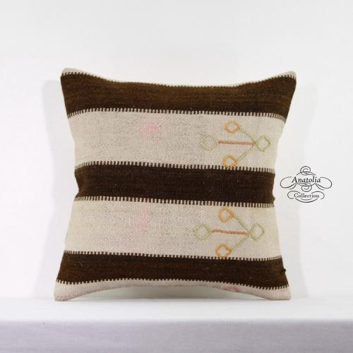 Striped Shabby Chic Kilim Rug Pillow Cover Rustic Decor Accent Floor Sofa Throw