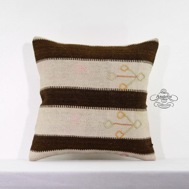 Striped Shabby Chic Kilim Rug Pillow Cover Rustic Decor Accent
