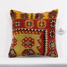 "Tribal Art Kilim Pillow Anatolian Turkish Cushion Cover 16"" Oriental Pillowcase"