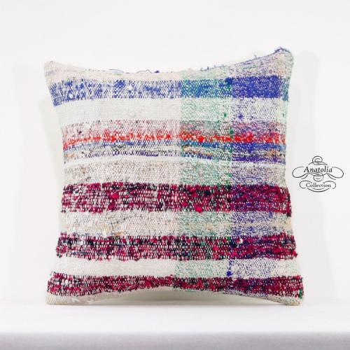 Tribal Decorative Pillow Cover 16x16 Cushion Colorful Striped Turkish Pillowcase