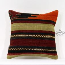 "Turkish Kilim Pillow Sham Anatolian Cushion Cover 16x16"" Sofa Couch Floor Throw"