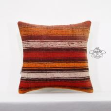 "Vintage Kilim Pillow Cover 16x16"" Striped Turkish Rug Cushion Ethnic Pillowcase"